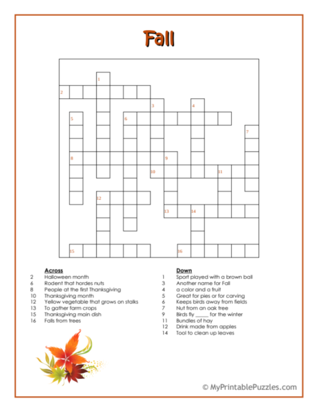 Fall Crossword Puzzle – Intermediate