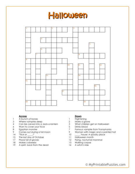 Halloween Crossword Puzzle – Intermediate