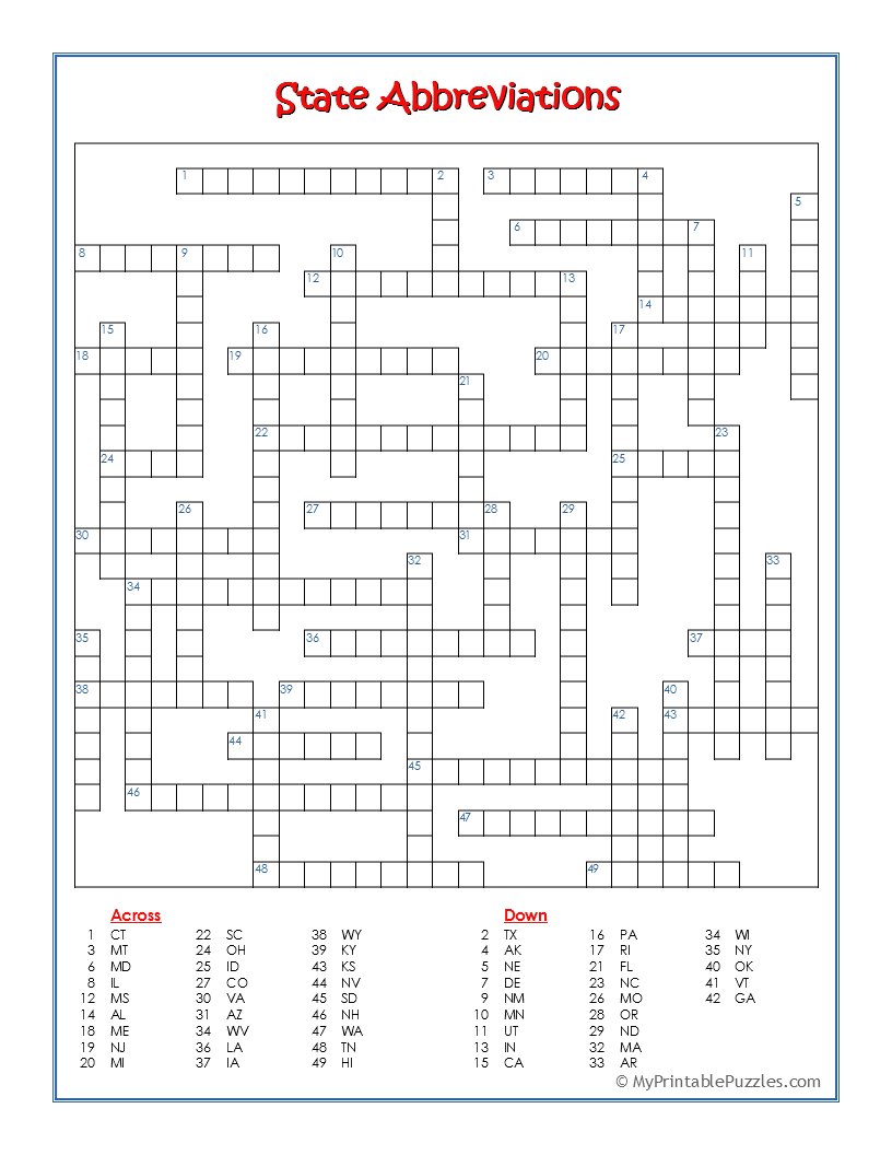 State Abbreviations Crossword Puzzle | My Printable Puzzles