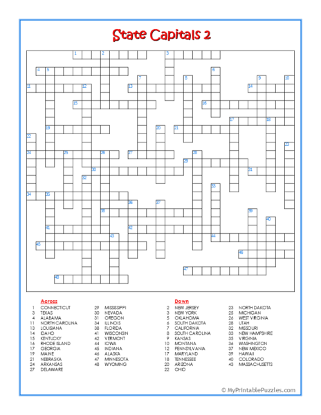 State Capitals 2 Crossword Puzzle