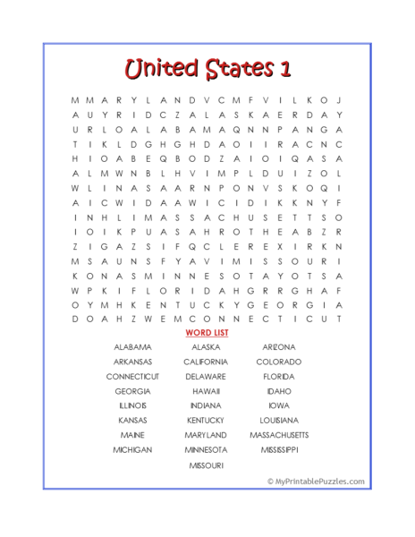 United States 1 Word Search