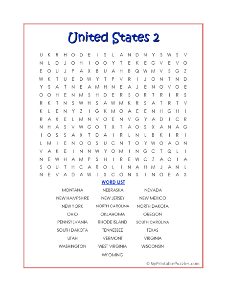 United States 2 Word Search