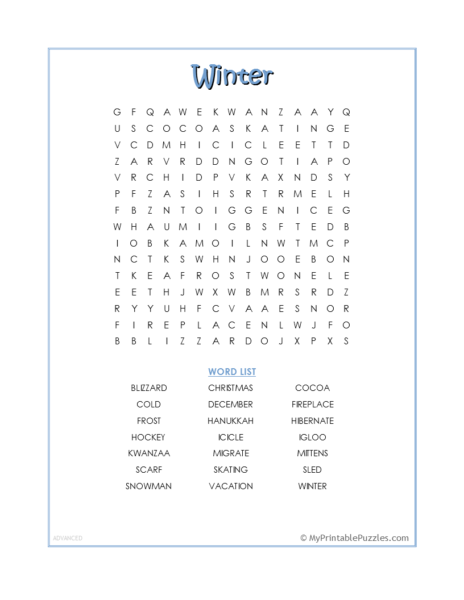 Winter Word Search – Advanced