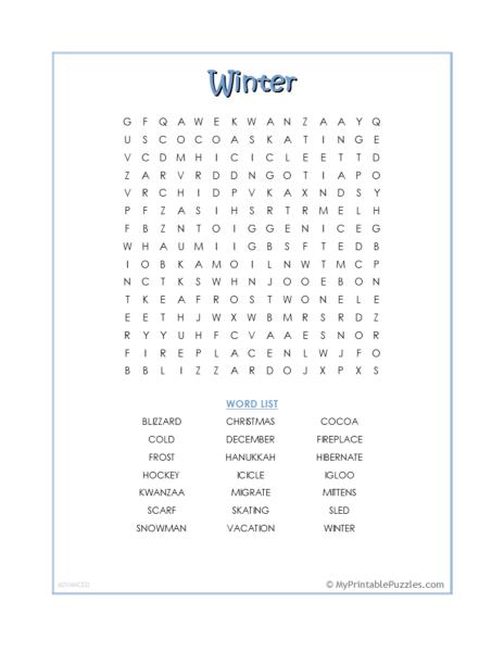 Winter Word Search – Advanced