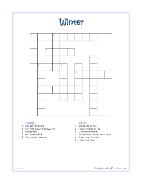 Winter Crossword Puzzle – Beginner