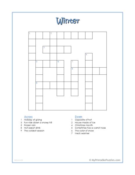 Winter Crossword Puzzle – Beginner