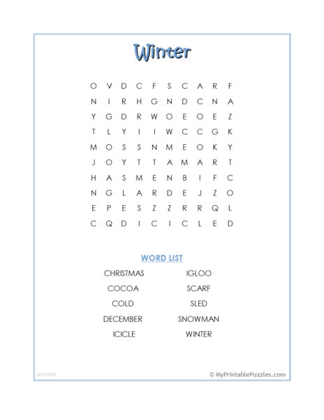 Winter Word Search – Beginner