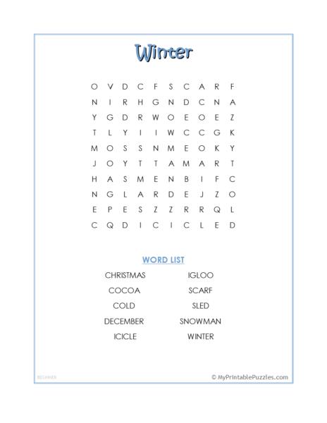 Winter Word Search – Beginner