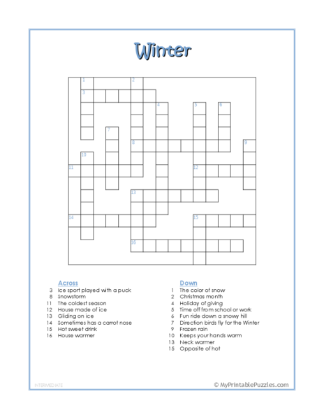 Winter Crossword Puzzle – Intermediate