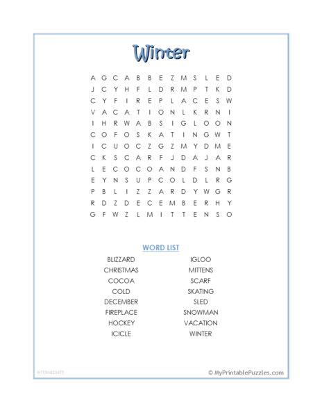 Winter Word Search – Intermediate