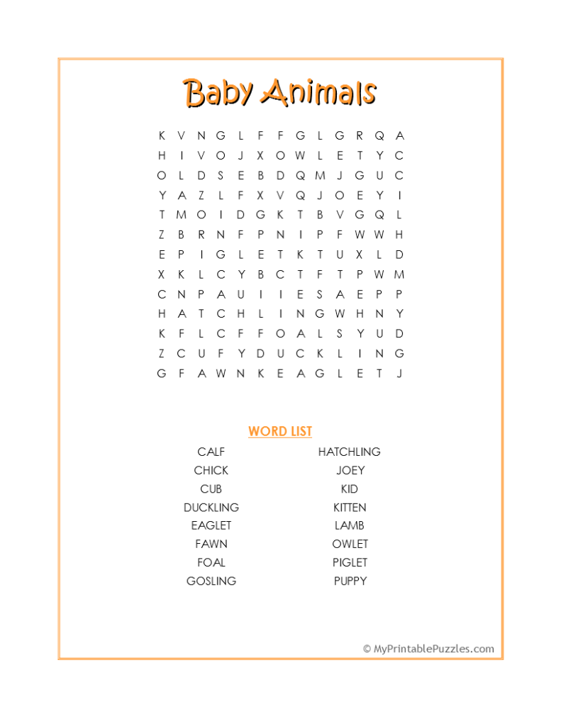 Baby Animals Word Search