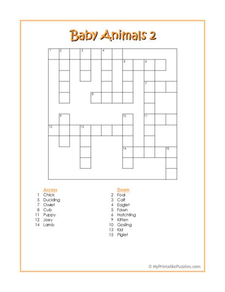 Baby Animals 2 Crossword Puzzle