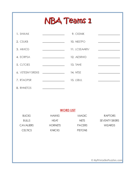 NBA Teams 1-Word Scramble