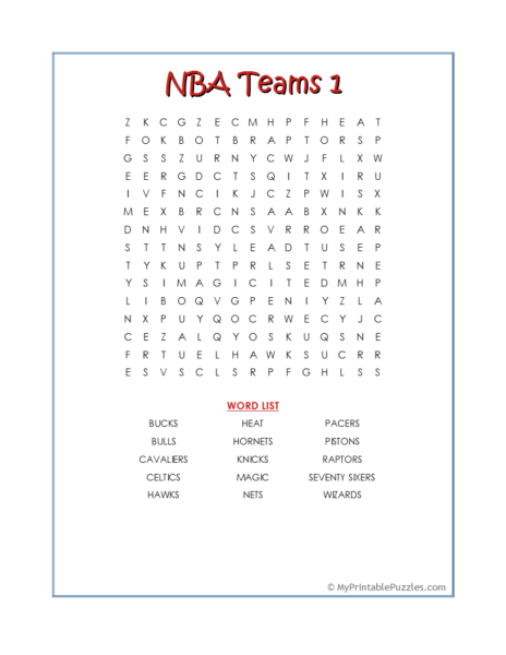 NBA Teams 1 Word Search