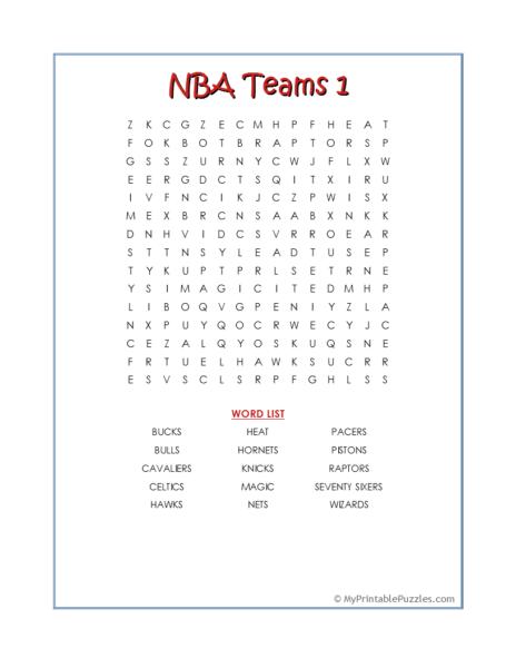 NBA Teams 1 Word Search