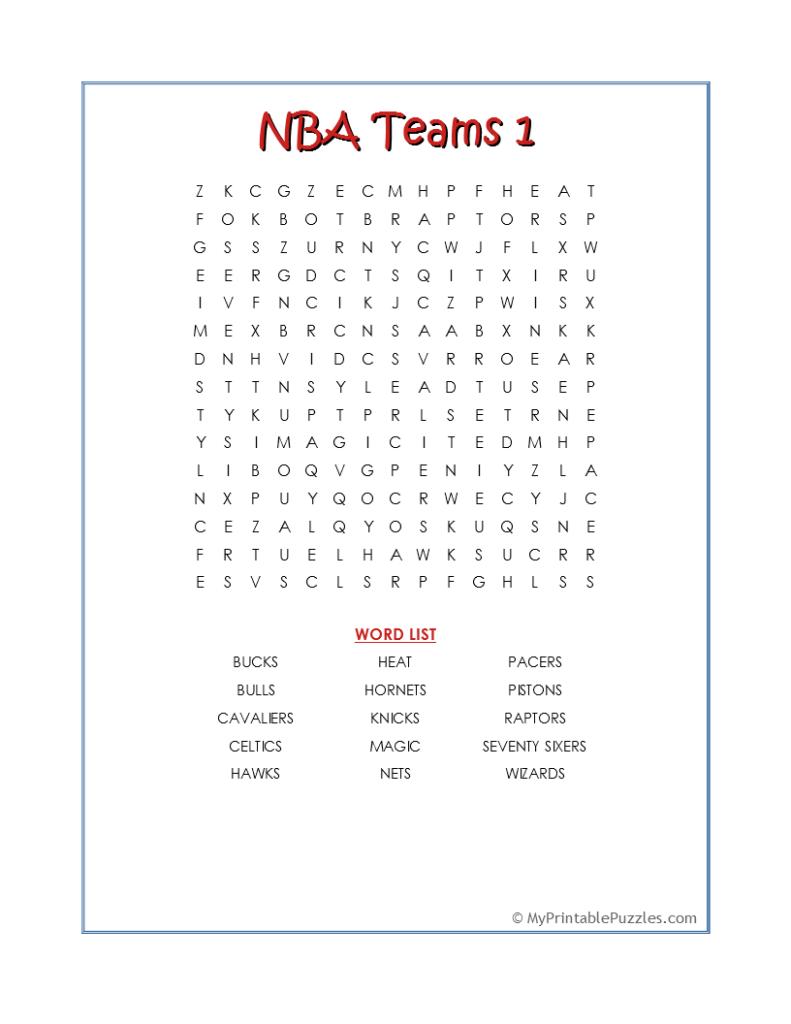 NBA Teams 1-Word Search