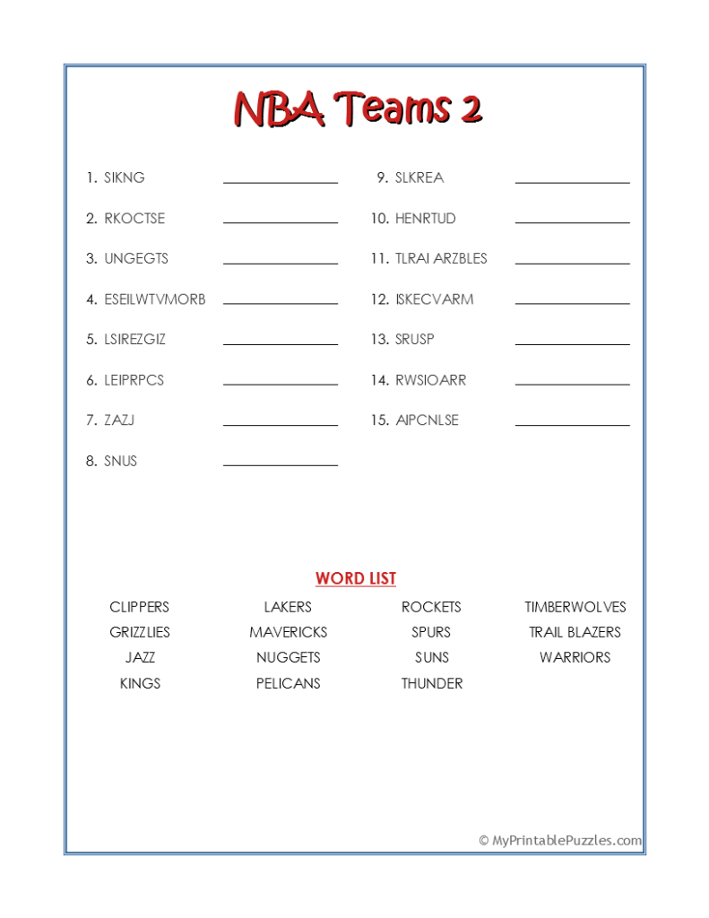 NBA Teams 2-Word Scramble