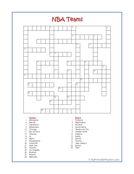 NBA Teams Crossword Puzzle
