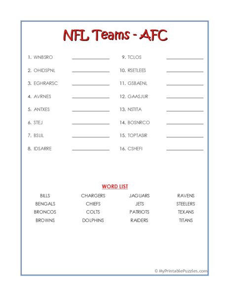 NFL Teams – AFC Word Scramble