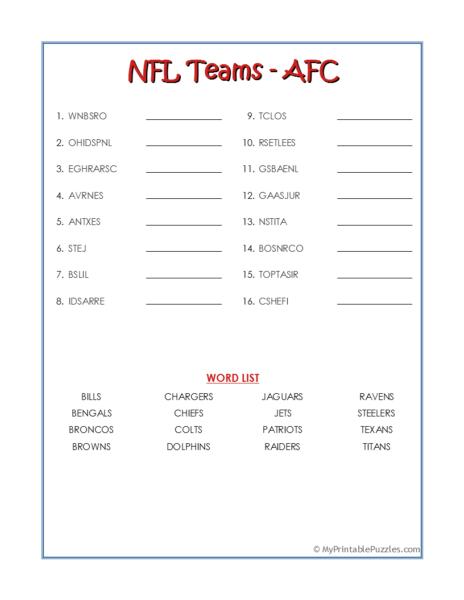 NFL Teams – AFC Word Scramble