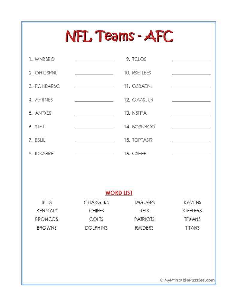 NFL Teams AFC-Word Scramble