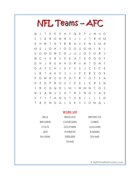 NFL Teams – AFC Word Search