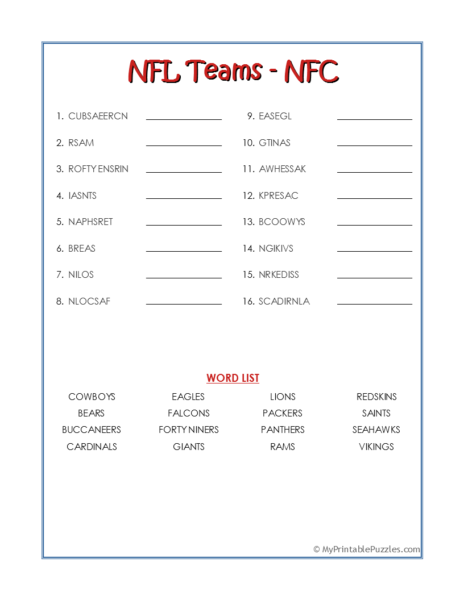 NFL Teams – NFC Word Scramble