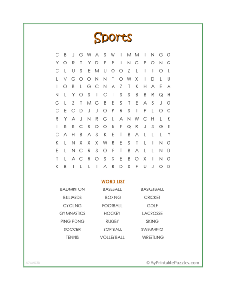 Sports Word Search – Advanced
