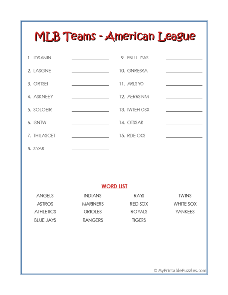 MLB Teams-American League Word Scramble
