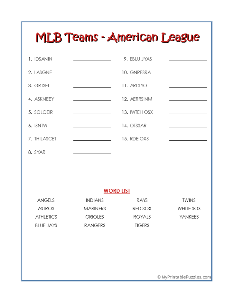 MLB Teams AL-Word Scramble