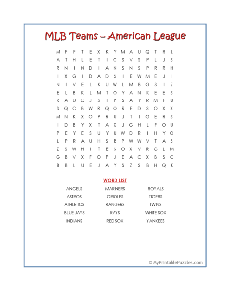 MLB Teams-American League Word Search