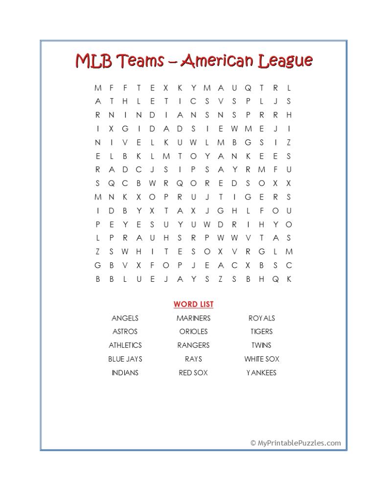 MLB Teams AL-Word Search