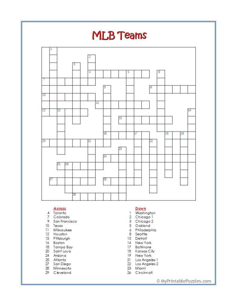 MLB Teams-Crossword