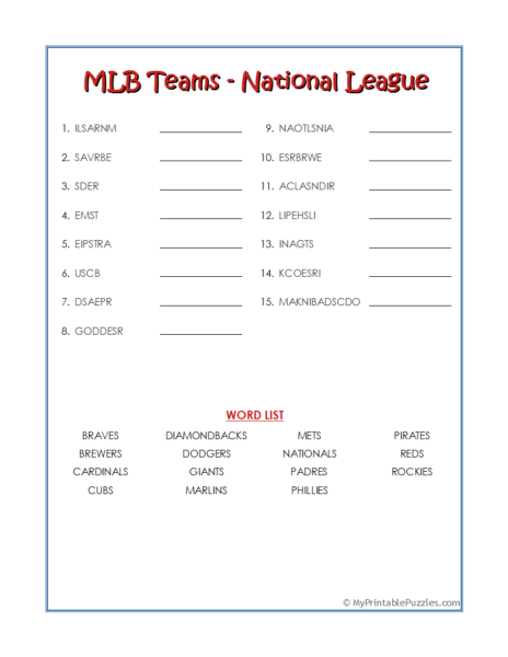 MLB Teams-National League Word Scramble