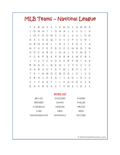 MLB Teams-National League Word Search