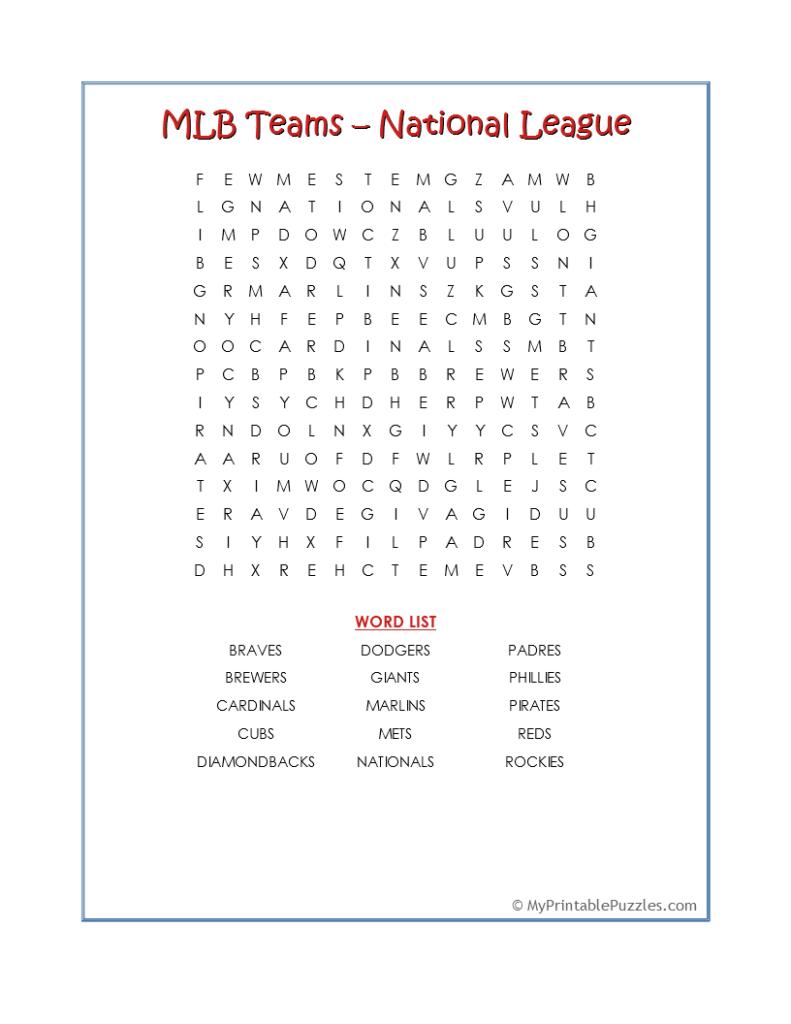 MLB Teams NL-Word Search