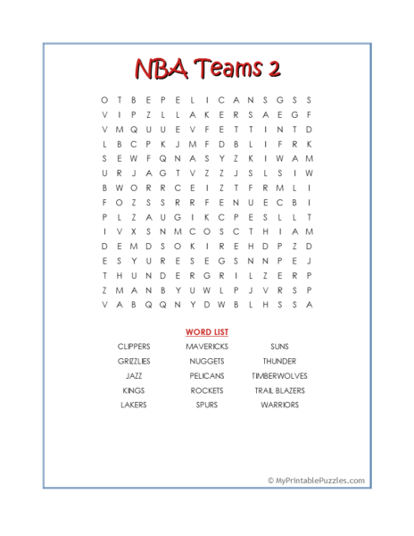 NBA Teams 2 Word Search