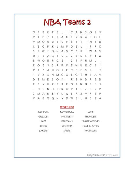 NBA Teams 2 Word Search