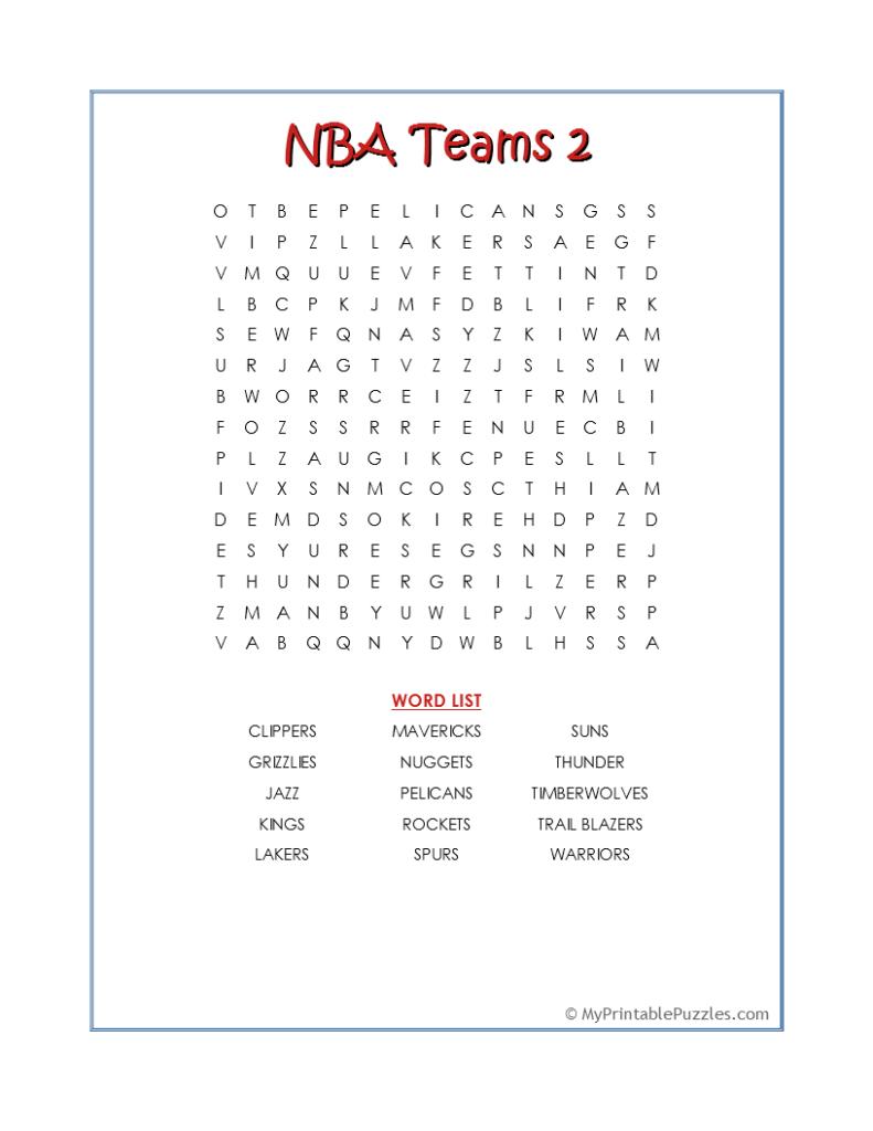 NBA Teams 2-Word Search